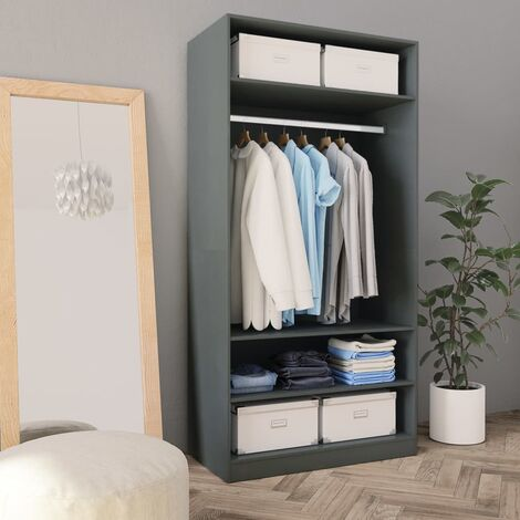Wardrobe Grey 100x50x200 cm Chipboard - Grey