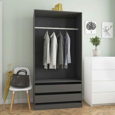 Wardrobe Grey 100x50x200 cm Chipboard - Grey