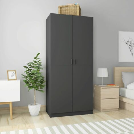 Wardrobe Grey 90x52x200 cm Chipboard - Grey