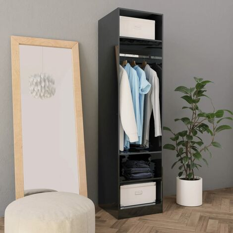 Wardrobe High Gloss Black 50x50x200 cm Chipboard