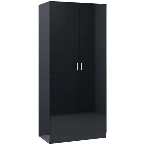 Wardrobe High Gloss Black 80x52x180 cm Chipboard