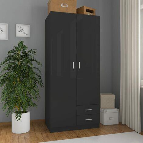 Wardrobe High Gloss Black 80x52x180 cm Chipboard - Black