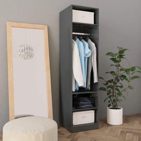 Wardrobe High Gloss Grey 50x50x200 cm Chipboard
