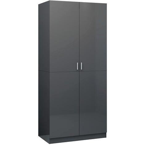 Wardrobe High Gloss Grey 80x52x180 cm Chipboard