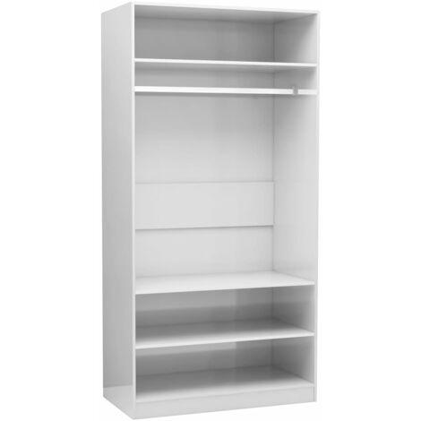 Wardrobe High Gloss White 100x50x200 cm Chipboard