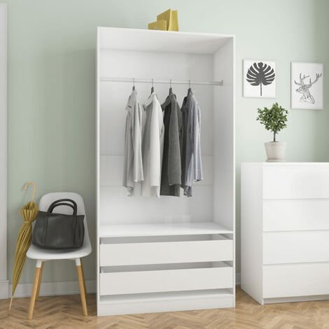 Wardrobe High Gloss White 100x50x200 cm Chipboard
