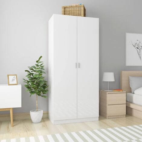 Wardrobe High Gloss White 90x52x200 cm Chipboard