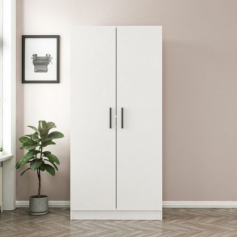 Wardrobe Kale Space Saver - with Doors, Auctions, Shelves - for bedroom - White Wood, 90 x 52 x 190 cm