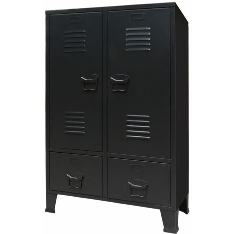 Wardrobe Metal Industrial Style 67x35x107 cm Black