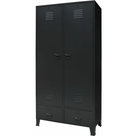 Wardrobe Metal Industrial Style 90x40x180 cm Black