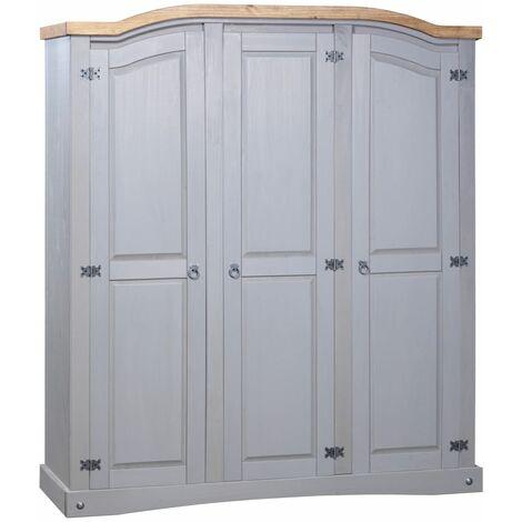 Wardrobe Mexican Pine Corona Range 3 Doors Grey