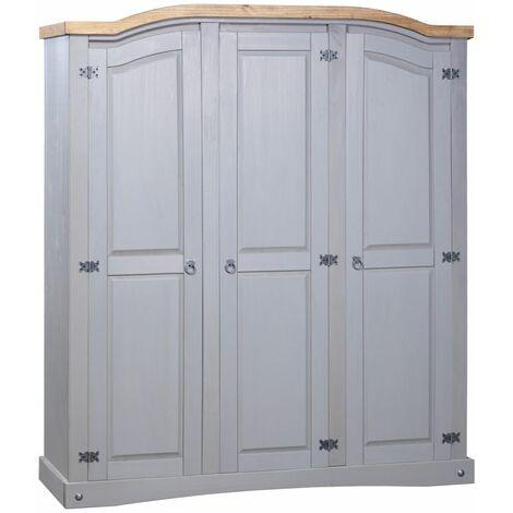 Wardrobe Mexican Pine Corona Range 3 Doors Grey - Grey