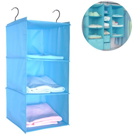 Wardrobe Organizer with 3 Compartments, Fabric Hanging Cabinet with Iron Frame, Folding Hanging Shelf, Clothes Storage System, Blue