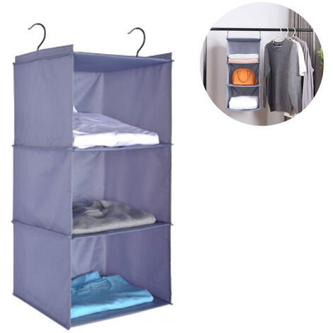 Wardrobe Organizer with 3 Compartments, Fabric Hanging Cabinet with Iron Frame, Folding Hanging Shelf, Clothes Storage System, Gray