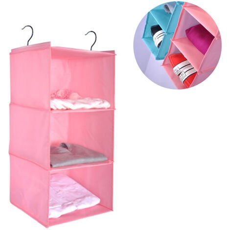 Wardrobe Organizer with 3 Compartments, Fabric Hanging Cabinet with Iron Frame, Folding Hanging Shelf, Clothes Storage System, Pink