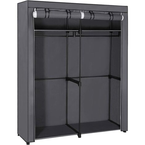 Wardrobe Storage Organiser, Portable Wardrobe with Hanging Rods, Clothes Rack, Foldable, Cloakroom, Bedroom, Study, Stable, 140 x 43 x 174 cm, Grey RYG02GY