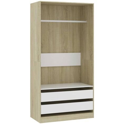 Wardrobe White and Sonoma Oak 100x50x200 cm Chipboard