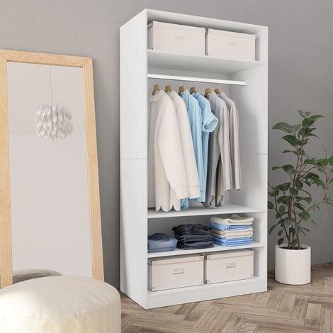 Wardrobe White 100x50x200 cm Chipboard - White