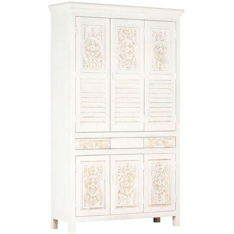 Wardrobe White 120x40x200 cm Solid Mango Wood