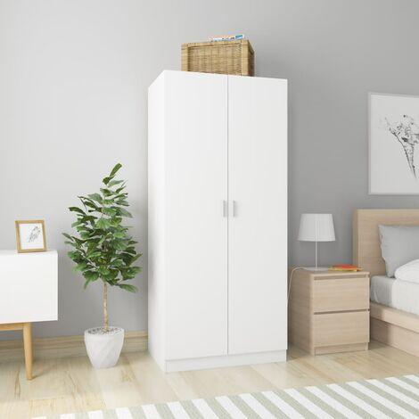 Wardrobe White 80x52x180 cm Chipboard - White