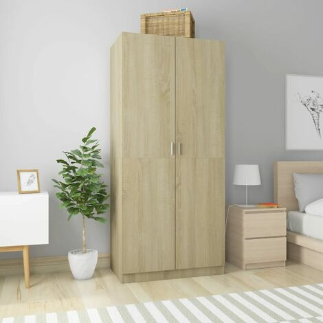 Wardrobe 90x52x200 cm Chipboard Sonoma Oak