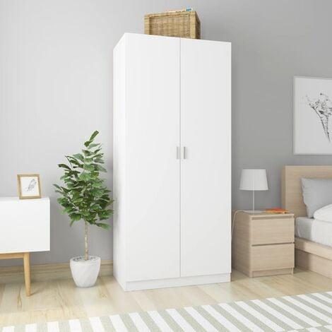 Wardrobe White 90x52x200 cm Chipboard - White