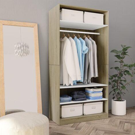 Wardrobe White and Sonoma Oak 100x50x200 cm Chipboard - Beige