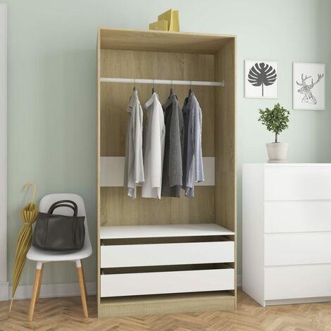 Wardrobe White and Sonoma Oak 100x50x200 cm Chipboard - Brown