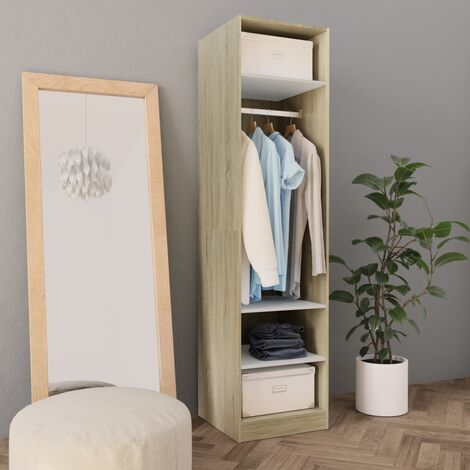 Wardrobe White and Sonoma Oak 50x50x200 cm Chipboard - Beige