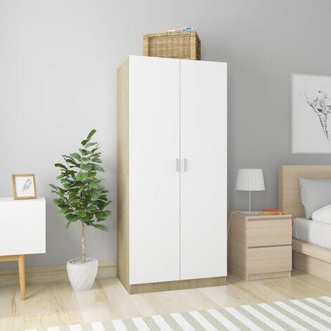 Wardrobe White and Sonoma Oak 80x52x180 cm Chipboard