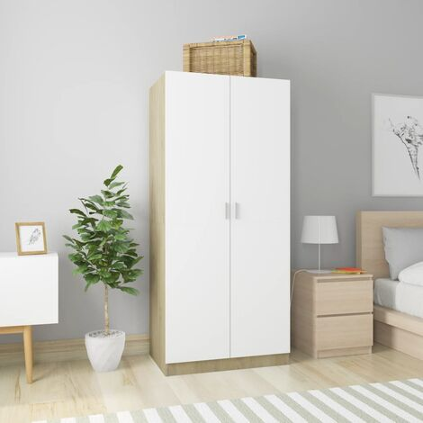 Wardrobe White and Sonoma Oak 80x52x180 cm Chipboard - White