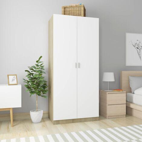 Wardrobe White and Sonoma Oak 90x52x200 cm Chipboard - White