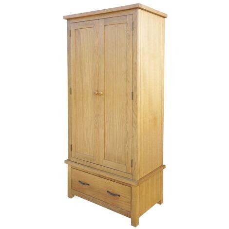 Wardrobe with 1 Drawer 90x52x183 cm Solid Oak Wood - Brown