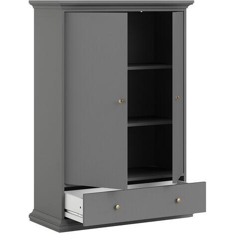 Wardrobe with 2 Doors 1 Drawer 2 Shelves in Matt Grey Grey Wood