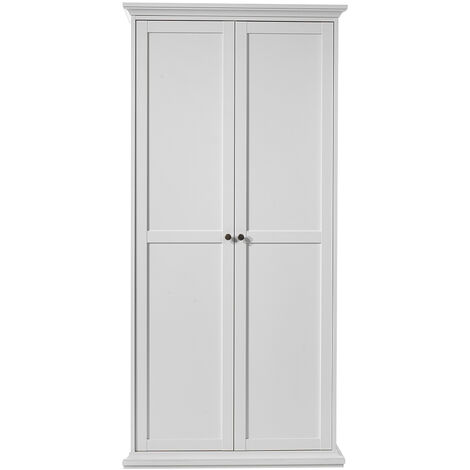 Wardrobe with 2 Doors in White White Wood