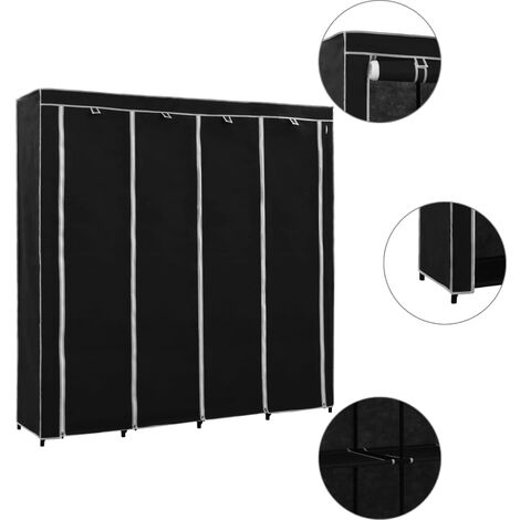 Wardrobe with 4 Compartments Black 175x45x170 cm - Black