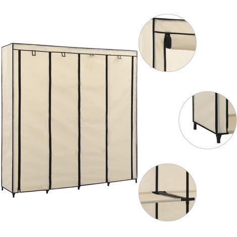 Wardrobe with 4 Compartments Cream 175x45x170 cm - Cream