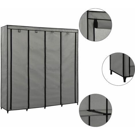 Wardrobe with 4 Compartments Grey 175x45x170 cm