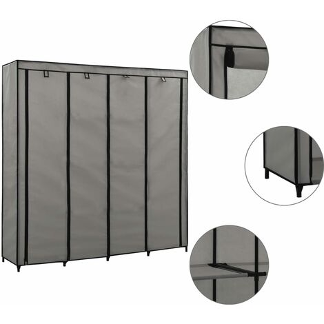 Wardrobe with 4 Compartments Grey 175x45x170 cm