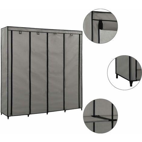 Wardrobe with 4 Compartments Grey 175x45x170 cm - Grey