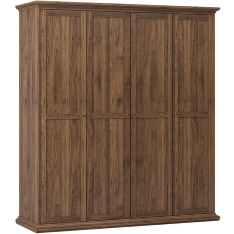 Wardrobe with 4 Doors in Walnut Brown Wood