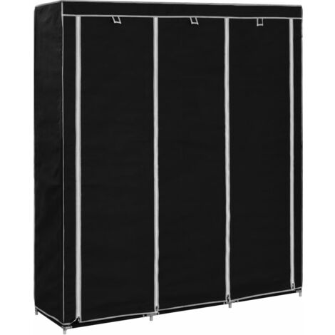 Wardrobe with Compartments and Rods Black 150x45x175 cm Fabric - Black