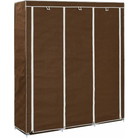 Wardrobe with Compartments and Rods Brown 150x45x175 cm Fabric - Brown