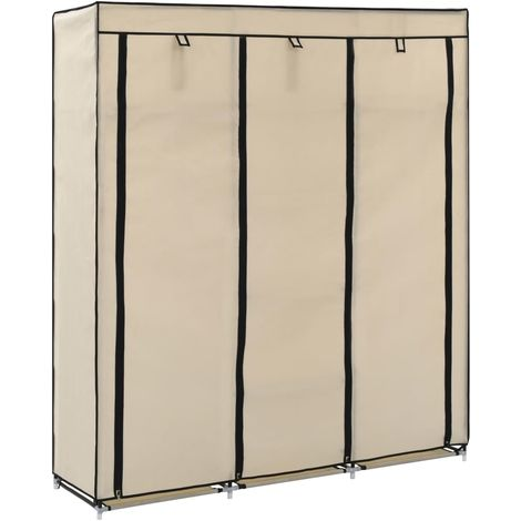 Wardrobe with Compartments and Rods Cream 150x45x175 cm Fabric