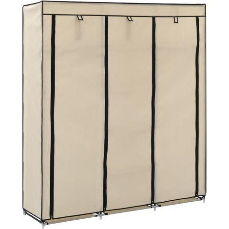 Wardrobe with Compartments and Rods Cream 150x45x175 cm Fabric - Cream
