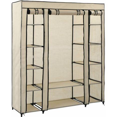 Wardrobe with Compartments and Rods Cream 150x45x176 cm Fabric - Cream