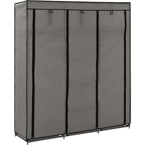 Wardrobe with Compartments and Rods Grey 150x45x175 cm Fabric - Grey