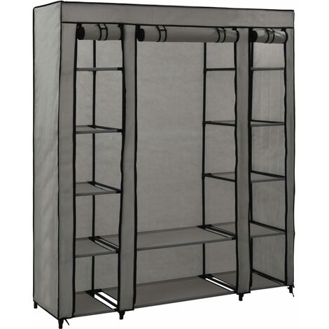 Wardrobe with Compartments and Rods Grey 150x45x176 cm Fabric