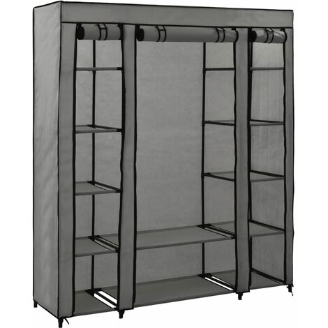 Wardrobe with Compartments and Rods Grey 150x45x176 cm Fabric - Grey