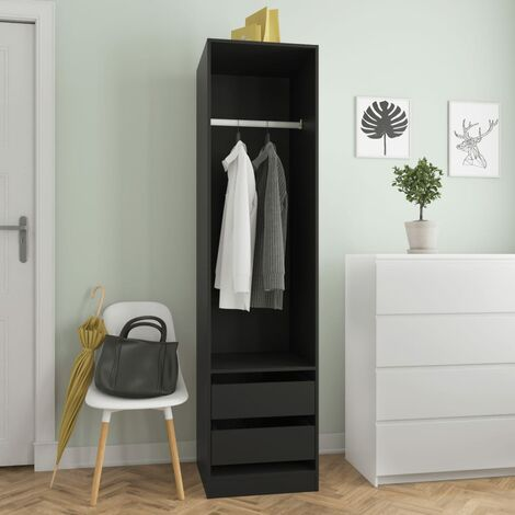 Wardrobe with Drawers Black 50x50x200 cm Chipboard - Black
